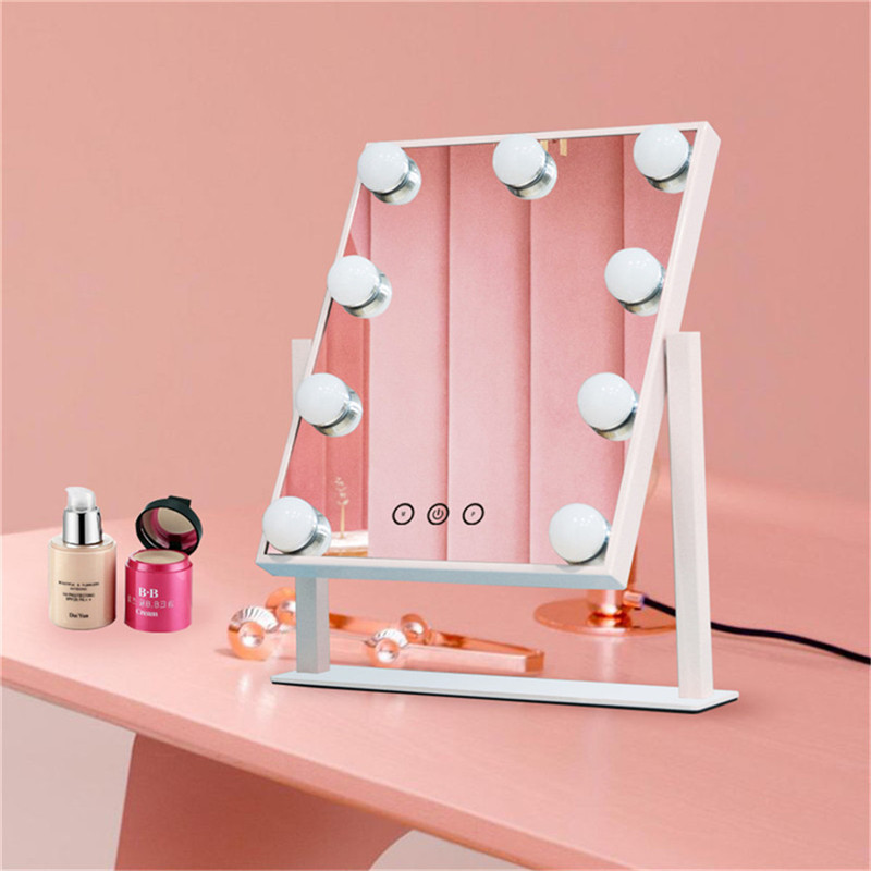 Chạm Điều khiển Dimmable Brigness 360 Xoay Vanity Makerup Hollywood Mirror with 12 LED Bulbs